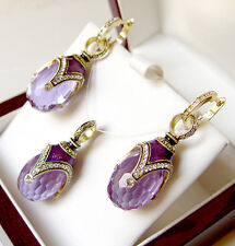 SALE !  SUPERB ENAMEL EGG PENDANT & EARRINGS SET STERLING SILVER 925 w/ AMETHYST