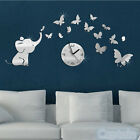 Creative 3D DIY Removable Elephant Mirror Wall stickers Clocks Home Decoration
