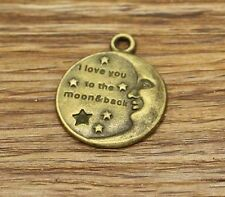 10 I Love You to the Moon and Back Charms Bronze Moon and Star Charm 22x27 2623
