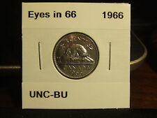 CANADA FIVE 5 CENTS 1966, EYES in 6'6' In BU, MS Condition!