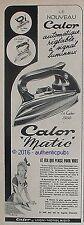 PUBLICITE CALOR FER MATIC SIGNAL LUMINEUX DE 1950 FRENCH AD PUB COULEUR VINTAGE