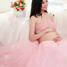Women's  Maternity Photography Clothing Pink Bra + Voile Skirt Photo Shoot Prop