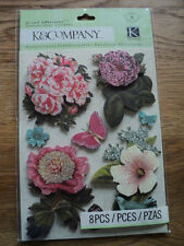 K & CO MERRYWEATHER FLORAL GRAND ADHESIONS STICKERS BNIP