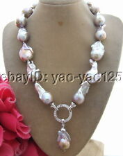 R062013 18'' 25mm Purple Bead-Nucleated Pearl Necklace