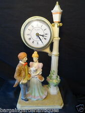 Vintage Ornate Ceramic Quartz Clock Man & Woman By Lamp Post Ornament