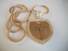 "Gold/Silver Finish Hip Hop Bling  CZ Cross Pendant w/ 36"" Franco Chain"
