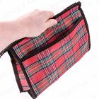 LARGE RED TARTAN COSMETIC WASH BAG Zip Up Toiletry/Make Up Travel Case Holder