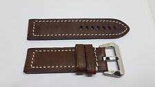 24mm BROWN LEATHER MATTERHORN HEAVY DUTY WATCH STRAP WITH LARGE CHROMO BUCKLE