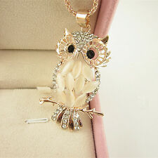 Womens Vintage Opal Crystal Owl Pendant Necklace Long Chain Fashion Jewelry Gift