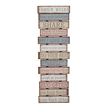 Family Rules For Living ~~Rustic Shabby Wood Sign Plaque LOVE ~ WALL Art Quote