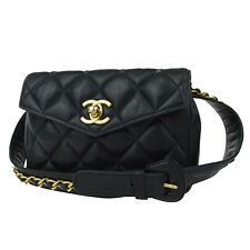 Authentic CHANEL CC Logos Quilted Bum Bag Pouch Leather Green 65/26 Italy 88Z310