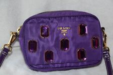 Prada Jewel Collection Purple Day Clutch Bag with Strap