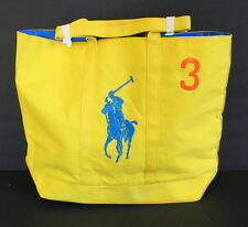 Ralph Lauren Tote Bag Cotton Yellow Polo Player Embroidered Vintage 18 in x 14