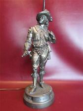 ANTIQUE VICTORIAN FIGURAL DON JUAN SPELTER STATUE LAMP