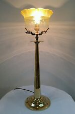 Rare Victorian Brass Newel Post Lamp Original Acid Eched Shade & Fixing. Rewired