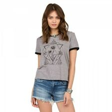 NWT VOLCOM Women 2017 Rangle Me Ringer S/S Tee Shirt Small Womens HGR ab15
