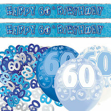 Blue Silver Glitz 60th Birthday Banner Party Decoration Pack Kit Set