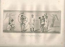 1827 AFFRESCHI ANFITEATRO POMPEI NAPOLI Le Riche Acquatinta originale