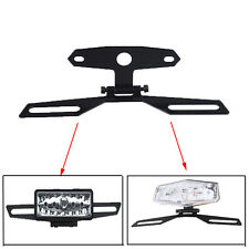 Black Motorcycle Folding License Plate Holder Adjustable Tag Tail Light Bracket