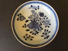 CHINESE ANTIQUE 18TH CENTURY KANGXI BLUE & WHITE PORCELAIN PLATE W/ LEAF MARK