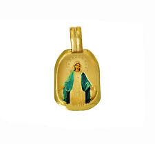 14K Yellow Gold Religious Blessed Virgin Mary Enamel Pendant