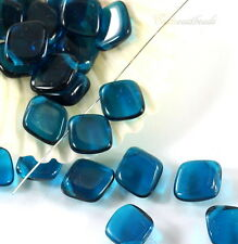 Czech Bohemian Diamond Drop Beads~Capri Blue~ 14x12mm~ Glass  14 Beads~
