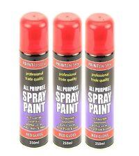 3x Red Gloss Spray Paint Vans Cars Home Office Metal Plastic n Wood New