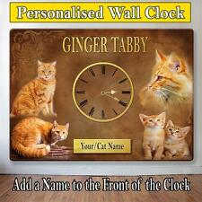 Personalised Ginger Tabby Breed Cat Kitten Pet Hanging Sign Wall Clock Gift