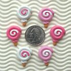 "US SELLER - 12pc x 1"" Hand Painted Resin Flatback LOLLIPOP Candy/Cabochon SB639"