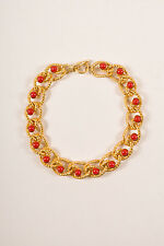 Kenneth Jay Lane Gold Tone Red Chunky Chain Link & Cabochon Choker Necklace