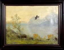 Amazing ca.1920 Listed Artist Early Plane in the Sky Painting Oil/Canvas w/Frame