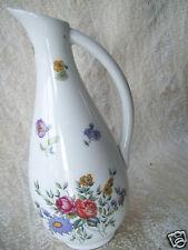 """Vintage Floral Bud VASE White 6 1/2"""" with Handle & Designer Name On Bottom"""