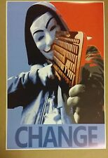 "Anonymous Guy Fawkes 36"" x 24""  Change Poster Hacker Machine Gun Keyboard Obama"