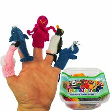 ThumbThings Handmade Finger Puppets, Set of 5: Flamingo, Dolphin, Octopus, Pengu