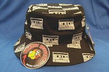 Gray Cassette Printed Black Full-Brim Bucket Hat ONE SIZE Piranha Records