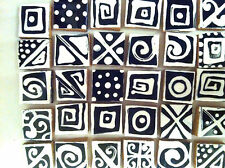 100 BLACK WHITE AZTEC DESIGN HAND MADE HANDPAINTED DECORATIVE MOSAIC TILES ART
