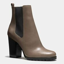 COACH Odelle Smoke Gray Taupe Leather Platform Ankle Boots Booties NIB 8  $348