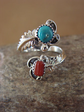 Native American Indian Jewelry Sterling Silver Turquoise Coral Adjustable Ring!
