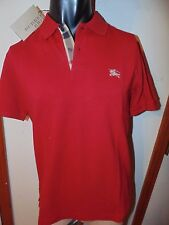burberry mens military red nova check short sleeve polo shirt  t-shirt medium