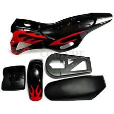 5 Piece Fairing Kit Flame Plastics For 49CC Mini Dirt Bikes Black/Red W/ Seat UK