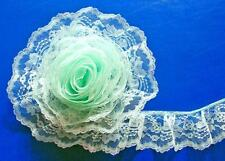 MINT GREEN~3 Inch Wide Ruffled Floral Lace Trim~By 5 Yards
