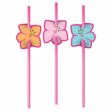 6 Hawaiian Party Pink Luau Fun Party drinking straws Tropical Flower Decoration
