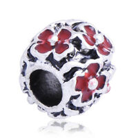 5PCS Silver Plated Red Enamel Flower Lot Charms Beads Fit European Rope Bracelet