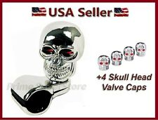 CHROME SKULL CAR STEERING WHEEL SPINNER HANDLE AUTO/TRUCK 1 SUICIDE KNOB +4 CAPS