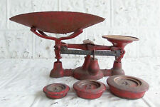 Vintage Chatillon Red Cast Iron General Store Scale with Weights and Pan