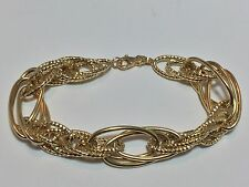 NEW ELEGANT ITALIAN 18KT YELLOW GOLD FANCY LINK WIDE BRACELET FITS 7.5""