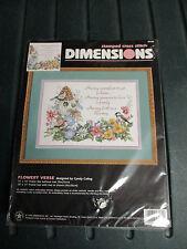 """Dimensions Stamped Cross Stitch Kit Flower Verse NIP 14"""" x 10"""" 1996"""