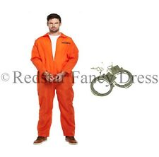 MENS ORANGE PRISONER COSTUME & HANDCUFFS FANCY DRESS CONVICT JUMPSUIT STAG PARTY
