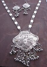 Vintage Silver Brass Fringe Chain Coin Pendant Long Boho Necklace Gypsy Jewelry