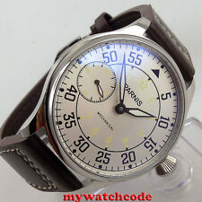 44mm parnis silver white dial seagull hand winding 6497 mechanical mens watch647